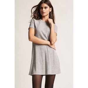 Soft Knit Ribbed Crew Neck Grey Marl T Shirt Dress